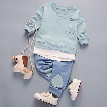 Kids Clothing Sets New Style Baby Clothing Sets Pocket Applique T-shirt+Pants 2Pc Children Clothing