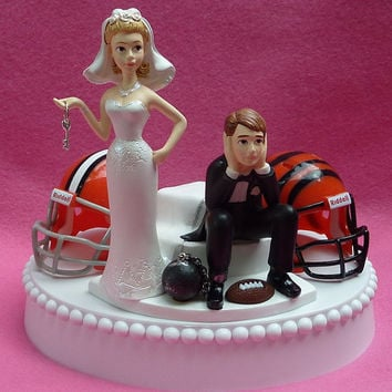 Wedding Cake Topper Team Rivalry Football House Divided Ball and Chain Key Themed You Pick Your Two Teams w/ Bridal Garter Funny Sports Fans