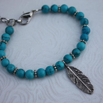 Turquoise Beaded Bracelet With Silver Feather - Turquoise Bracelet - Feather Bracelet - Turquoise And Silver - Gift For Her