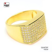 Jewelry Kay style Men's Fashion Hip Hop 14k Gold Plated Hand Set CZ Flat Square Style Pinky Rings