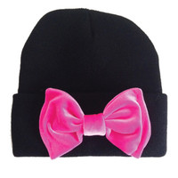 Black Beanie with Hot Pink Bow