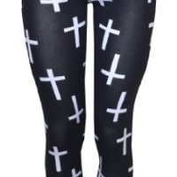 Vip Boutique Cross Printed Leggings (US 10/12 (UK12-14), BLACK)