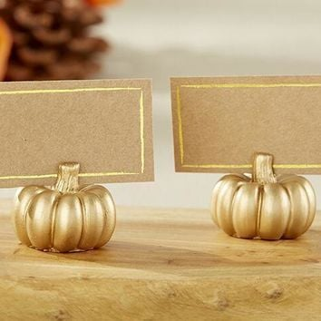 100pcs Gold Color Pumpkin Shape Place Card Holder Wedding Party Table Name Picture Holder