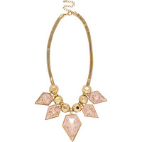 River Island Womens Gold tone pink flecked statement necklace