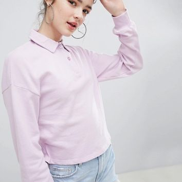 Bershka long sleeve polo in purple at asos.com