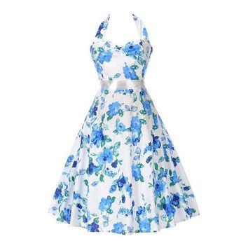 White with Blue Floral Print Sweetheart Neck Halter Top Party Dress