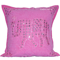Pink Elephant Design Mirror Embroidery Work Decorative Throw Pillow on RoyalFurnish.com
