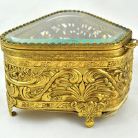 FREE SHIPPING Vintage French Vanity Ladies Boudior Shabby Chic  1950's 1950s Gold Gilt Beveled Glass Jewelry Trinket Pill Box