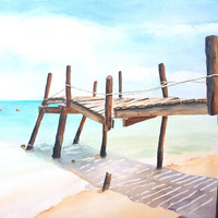 "Old Fishing Pier on Beach, Watercolor Painting, 18x22"" Large Original Watercolor, Wall decor, Beach art, Tropical Ocean Landscape"
