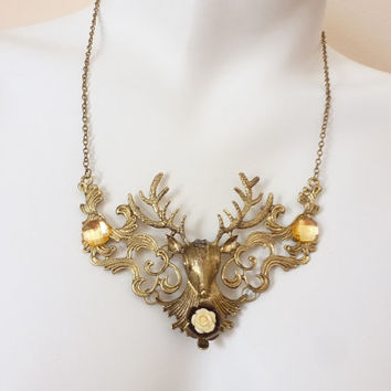 Deer, Stag, Antler, Reindeer, Elk, Statement Necklace, Matte Gold or Silver, Your Choice 4 Styles, Woodland Holiday Jewelry