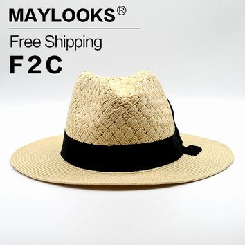 Maylooks New Fashion Jazz Cowboy Sun Hats For Women Men Hats Straw Hats For Men Cap Sun Summer Hat for girl HN24