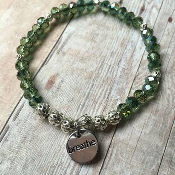 "Green Crystal Bracelet Green Beaded Bracelet Green Crystal Stretch Bracelet ""Breathe"" Charm Bracelet Crystal Boho Stretch Bracelet (ST105)"