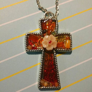 Fiery Cross Stained Glass Shadowbox Pendant