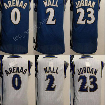 Men Basketball 0 Gilbert Arenas Throwback Jerseys Nav Blue White Color Retro 2 John Wall Jersey For Sport Fans All Stitching Quality