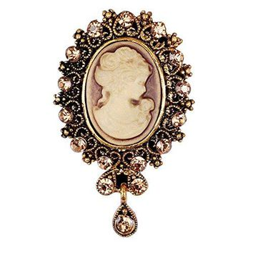 RareLove Vintage Rhinestone Cameo Brooch For Women Yellow Crystal Beauty Picture Alloy