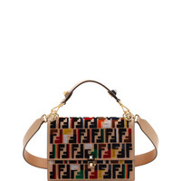 Fendi Kan I Calf Leather Shoulder Bag with FF Embroidery