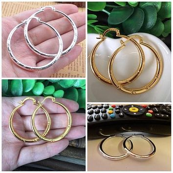 Ladies Large Hoop Earrings - Silver or Gold