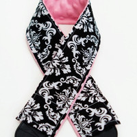 Black Damask with Pink Minky Camera Strap Cover