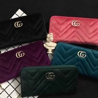 """""""Gucci"""" Fashion Quilted Double G Letter Long Section Zip Wallet Clutch Women Purse"""