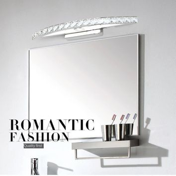 LED 70cm Crystal Mirror Wall Bathroom Light Stainless Steel Noble Lamp