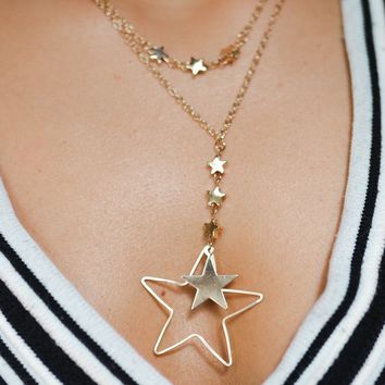 Hollywood Gold Layered Star Drop Necklace
