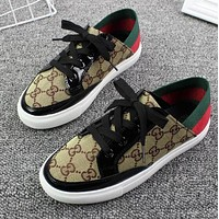GUCCI New Popular Women Casual Canvas Low Top Sport Shoes Sneakers Khaki