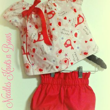 Girls Valentines Day Outfit, Baby Girls Coming Home Outfit, Girls Peasant Top with Bloomers Set