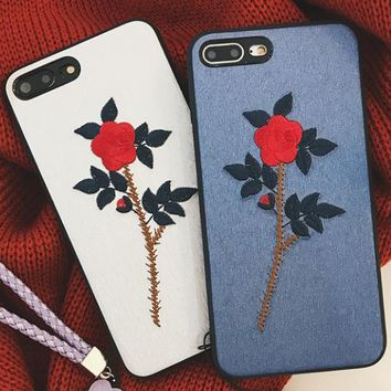 Embroidery flowers iPhon7plus phone shell lanyard iPhone6sp protective sleeve female models Apple X drop i8 soft shell