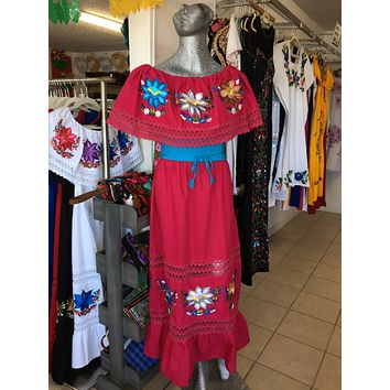 Mexican Luxury Fino Campesino Maxi Dress Hot Pink