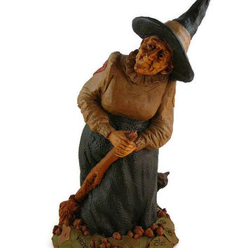 "On Sale Vintage, Tom Clark, Retired ""Hazel the Witch"", Handcrafted, Gnome Figurine, Hand Signed , With COA, By Cairn Studio"