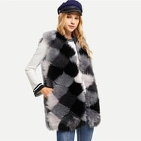 Gray Multi Color Block Faux Fur Vest