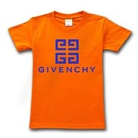 Givenchy Tide brand solid color simple round neck half sleeve T-shirt Orange
