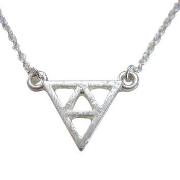 Silver Toned Geometric Triangle Design Pendant Necklace