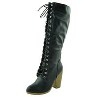 Womens Knee High Boots Chunky High Heel Lace Up Shoes Black