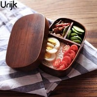 Urijk Japanese Bento Boxes Wood Lunchbox Handmade Natural Wooden Sushi Box Tableware Bowl Food Container