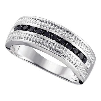 Sterling Silver Men's Round Black Color Enhanced Diamond Roped Band Ring 1/2 Cttw - FREE Shipping (US/CAN)