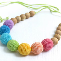 Soft Rainbow Nursing Necklace - Pastel Rainbow Teething Necklace - Crocheted necklace