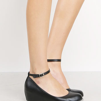 Hidden Wedge Ankle Strap Shoes