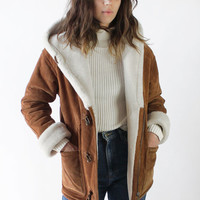 Vintage 90s Warm Brown Suede Shearling Sherpa Coat | XS/S