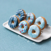 Blue Donut Earrings - Food Jewelry - Donut Collection
