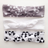 Jersey Knit Baby Girl Headband Tie Knot - gray - triangles - black - white - jersey -bow -tie knot -baby :TK