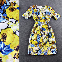 Yellow Floral Short Sleeve Zipper Mini Dress