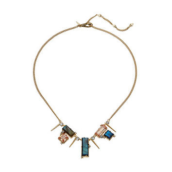 Alexis Bittar Geometric Multi Stone Bib with Satellite Crystal Spikes Necklace