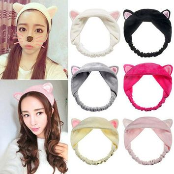 LMFUS4 New Cute soft cartoon cat ears headband Hairband Hair Head Band Party Gift Headdress Hair Accessories Makeup Tool Free shipping