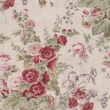 Clarence House Fabric JM1196 Jubilee Bouquet Line Red/Green