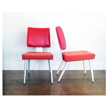 Mid Century Red Side Chairs - A Pair