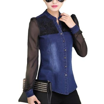 Womens Tops Fashion 2017 Korean Style Women Denim Shirt Top Body Jeans Shirts With Long Sleeves Camisa Jeans Feminina Blouse