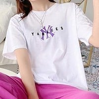 NY MLB Summer Fashion Women Men Casual Letter Print Short Sleeve T-Shirt Top