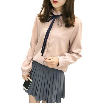 Women Blouses 2017 New Autumn Long Sleeve Bow Stand Collar Shirt Women Tops Office Lady Casual Blusas Femininas Camisas Mujer