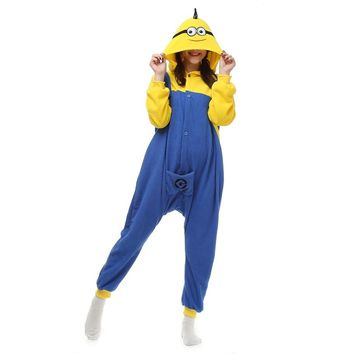 Women Cosplay Minions Onesuit Cartoon Jumpsuit Adult Pajamas Polar Fleece Kigurumi For Halloween Jumpsuit Pijama Party Men